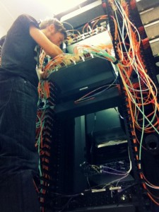 Paul working on a fibre optic network at a Datacentre in Europe